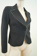 MY STORY Designer Black Silver Trim Fitted Evening Blazer Jacket UK8 BNWT