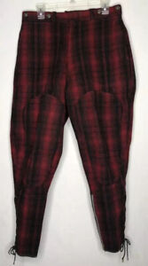 Vintage Woolrich 1940's Red Black Buffalo Plaid Mackinaw Hunting Pants Lace Up