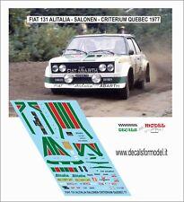 DECALS 1/43 FIAT 131 ABARTH ALITALIA SALONEN CRITERIUM QUEBEC 1977 WINNER