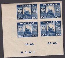 Stamps 1946 Poland 10zt blue Lanckrona Castle plate N1W1 bottom left block of 4