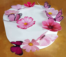 * PRE-CUT BEAUTIFUL PINK BUTTERFLY & FLOWER EDIBLE WAFER CAKE TOPPER DECORATIONS