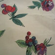 50cm x 88cm Purple & Red Rose Floral French Vintage Fabric 1940s 1950s Sewing