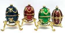 """4 Russian Style Enameled Decorative Eggs with Box Blue Red Green Brown 3"""""""