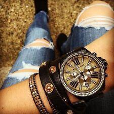 NWT Michael Kors Wren Black Gold Chronograph Women Glitz Stainless Watch MK5961