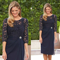 Lace 3/4 Sleeve Short Mother of the Bride Gown Formal Party Evening Dress Custom