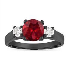 Vintage Garnet Engagement Ring, 1.80 Carat 14K Black Gold Certified Handmade