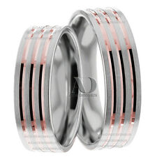 Striped Pattern Matching Wedding Band Set 14K Gold Two Tone Wedding Ring Set 6mm
