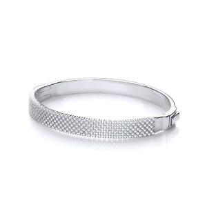 Sterling Silver Bracelet J JAZ Criss Cross Mesh Cubic Zirconia Stones Bangle