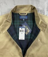 $150 New Polo Ralph Lauren Harrington Jacket Mens Zip Front Luxury Beige Size M