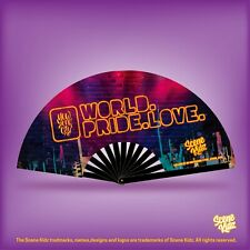 Large World Pride Love Exclusive Scene Kidz Circuit Rave Party Folding Fans