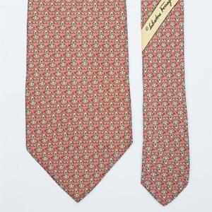 SALVATORE FERRAGAMO TIE Dog on Pink Classic Silk Necktie