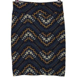 LuLaRoe Cassie Womens Pencil Straight Skirt Blue Mustard Gold Size L Large