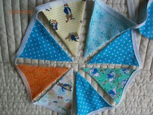 Peter Rabbit Themed Handmade Fabric Bunting  - 24 Flags  3+ metres -