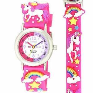 Ravel 3D Childrens Time Teacher Unicorn Design White Dial Watch Kids Girl's Pink