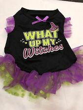 Pet Clothes Dog Halloween Dress Size Medium Black Purple What Up My Witches