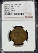 1926 China Szechuan Province 50 Cash, Brass, NGC XF Details - Rim Damage