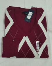 Tommy Hilfiger Women's  Cotton Argyle Sweater NWT Sz: Medium Retail Value $64.99