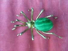 LARGE E. SPENCER STERLING SILVER AND MALACHITE SPIDER PIN