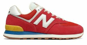 New Balance Men's 574 Shoes Red with Blue