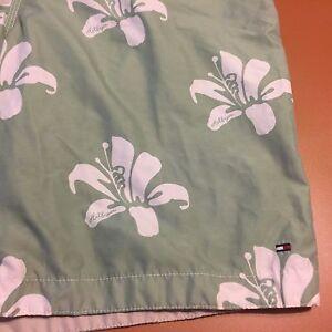 Vtg Tommy Hilfiger Spell Out Mens L Floral Flag Logo Swim Trunks Mint Green