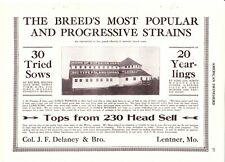 1919 American Swineherd Hog Sales Col. Delaney Lentner Mo ~ Gypsum KS
