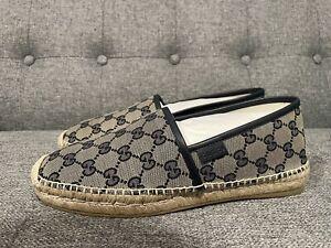 Authentic GUCCI Men's GG Espadrille Shoes Blue Size 6.5 New
