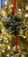 Vintage CHRISTMAS Plastic MISTLETOE Ball Hanging w/ Red Ribbon & Jingle Bell