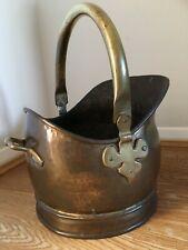 Brass Coloured Coal Scuttle Bucket Helmet Shaped with Handles Fireside Kindling