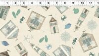Clothworks Beach House Y2631-11 Tossed All Over Light Khaki cotton quilt Fabric