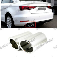 For Audi A3 2009-2016 Decor Stainles Silver Muffler Exhaust Tail Pipe Tip 2PCS