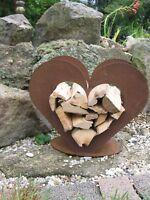 Herz aus Metall - Holz-Regal - Edel-Rost - Garten Terrasse - Deko - klein - NEU!