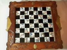 VINTAGE CHINESE ORIENTAL ASIAN CHESS SET WITH CARVED WOODEN PIECES 19''X 19''