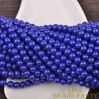 New 50pcs 6mm Round Glass Loose Spacer Beads Jewelry Findings Royal Blue