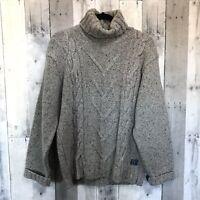Ireland's Eye Women's Sweater Gray Turtleneck Turtleneck Wool Blend Cable Medium