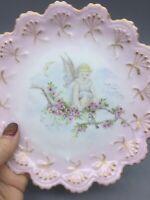 Elite France Limoges Gold Rim Pink Ombre Hand Painted Floral Angel Salad Plate 7