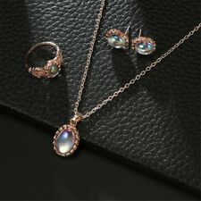 Women Girls Moonstone Necklace Earrings Ring Set Wedding Party Jewelry Decor