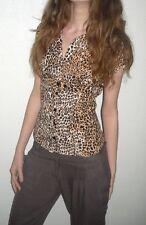 sexy Bluse Shirt Kurzarm V Ausschnitt tailliert Leo Leopard 32 34 XXS XS wie neu