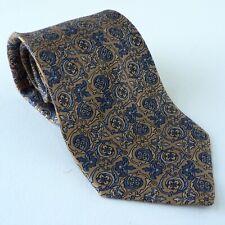 Loewe Seda tie patrón Florentino pergaminos de oro y Azul Floral Vintage años 80 años 90