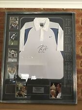 Roger Federer Signed Nike Tennis Shirt Framed with Photo Collage with COA