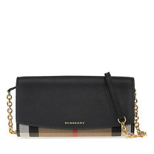 Burberry House Check and Leather Wallet with Chain - Black