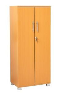 "MMT Wooden Cabinet 2 Door Locking Cupboard Office Storage Industrial 49.2"" Tall"
