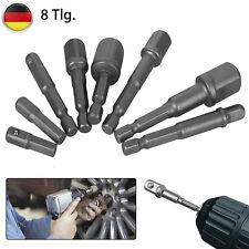 """8tlg. 1/4"""" 3/8"""" 1/2"""" Bohrmaschinen Bohrfutter Adapter Set Bit Stecknuss Halter"""