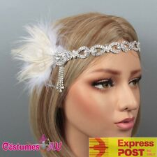 1920s Headband White Feather Bridal Great Gatsby 20s Gangster Flapper Headpiece