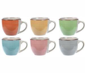 Set of 6 Brush Stroke Design Ceramic 90ml Espresso Coffee Serving Cup