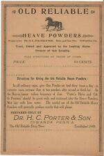 Horse Towanda PA Veterinary Medicine Antique Label Heave Powder HC Porter