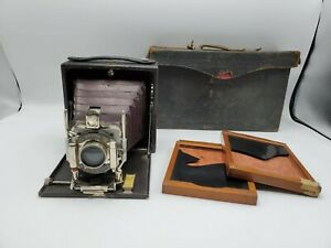 "Vintage Kodak Eastman Star Premo Folding Bellows 4x5"" Plate Camera + Case *Read*"