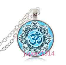 Om Pendant , Lotus Flower Necklace , Namaste Yoga Jewelry , Tibetan silver#1130