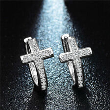 Ladies Earring Silver Tone Cubic Zirconia Curved Cross Hoop Earrings