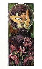 "Alphonse Mucha 1976 Authentic Vintage Art Nouveau Print ""Amethyste"" LIBRO Piastra"