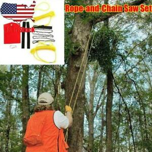 """US-High Reach Limb Rope Chain Saw 48""""Branch Tree Cutter Trimmer Manganese Steel"""